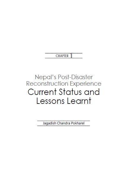 Nepal's Post-Disaster Reconstruction Experience