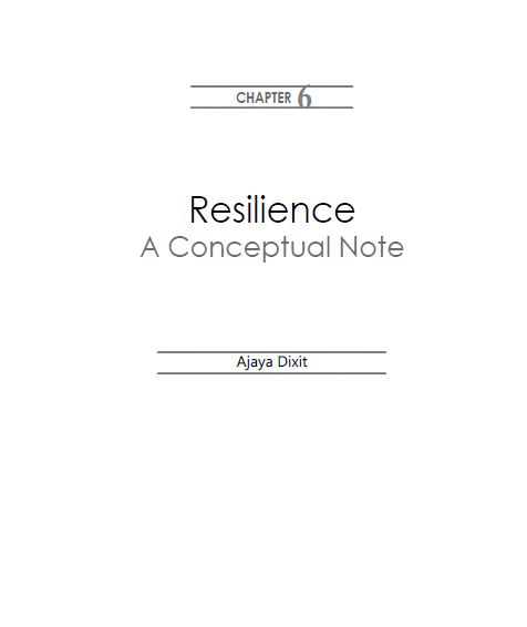 Resilience: A Conceptual Note