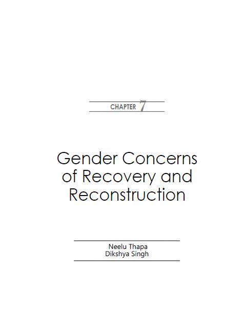 Gender Concerns of Recovery and Reconstruction